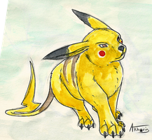 [Traditional] Pikachu by Akhorispaw