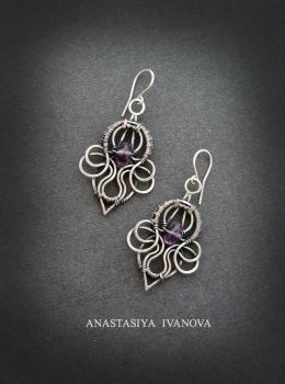 earrings with amethyst by nastya-iv83