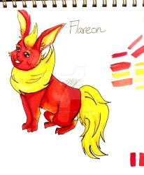 Flareon redrawing by Dollyboochky01