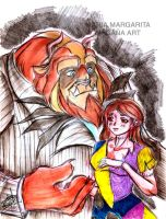 Beast and Belle as Jack and Sally by selene-nightmare69