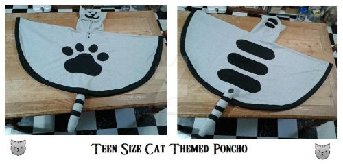 Teen size cat themed poncho finished by ShelandryStudio