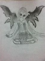 girl with dark wings by littlebluewildfire