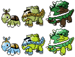 Turtwig Grotle Torterra GSC Sprites by Axel-Comics