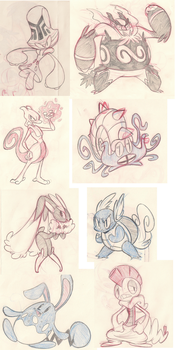 Pokemon Request Sketches by RedBlooper