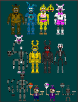 Nightmare Toy Animatronic Sprites (60+ Watchers!) by TommyProductionsInc