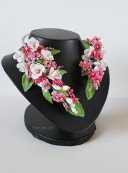 Pink Sakura and white freesia flowers necklace by fion-fon-tier