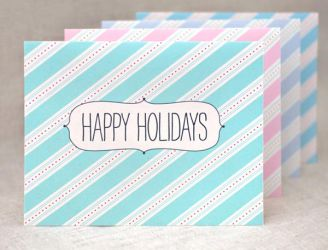 Striped Holiday Cards by happydappybits
