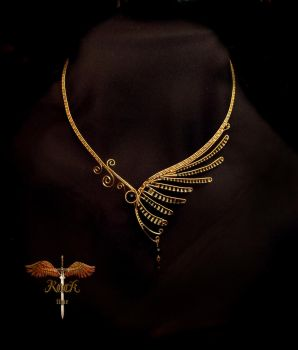 Golden wing necklace by alina-loreley