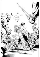 Conan Vs Red Sonja Page 2 ink sample by macacaralho