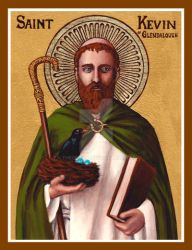 St. Kevin of Glendalough icon by Theophilia