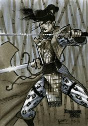 Samurai Dungeon Dolls Sketch Card by RichardCox
