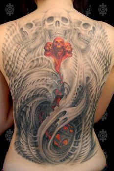 Jessica's back tattoo. by M-Amey