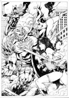 Wonder Woman Supergirl and Batgirl VS Doomsday by Leomatos2014