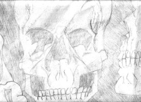 Skull drawing first part 2001 by crisisnyc