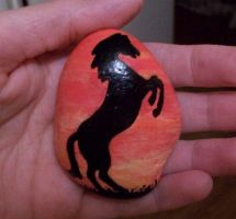 Horse silhouette painted onto rock by TinyAna