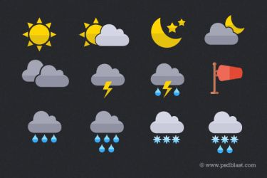 Flat Weather Icon (PSD) by psdblast
