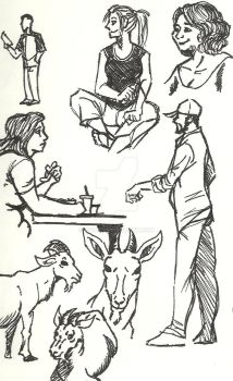 Cafe drawings 2 by Knyn