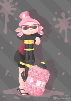 [Comm] A squid and her splatling by berrymage