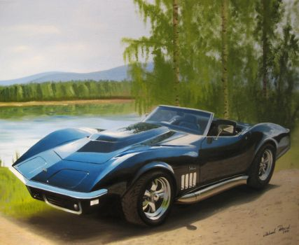 Corvette Oil Painting by Regius