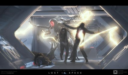 Lost in Space - Alien Attack Keyframe Concept Art by przemek-duda