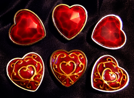 Zelda Heart Container Brooches by tavington