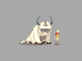 Pixel Avatar: Aang and Appa by drawsgood