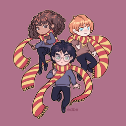 Harry Ron and Hermione by miss-edbe