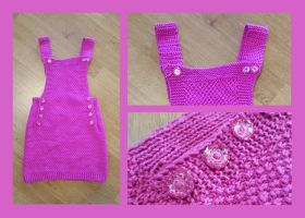 Kid skirt with straps - pink by KnitLizzy