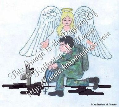 Angel watching over soldier by Katrina1944