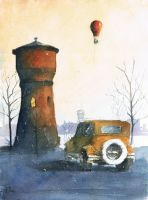 A landscape with water tower and an old car by sanderus