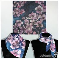 SIlk scarf CHERRY BLOSSOM - FOR SALE by MinkuLul