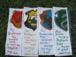 Hogwarts House Crests Cross-Stitch bookmarks (Alt) by DaydreamQueenMisha