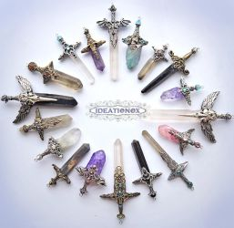 April Crystal Sword Charms - Ideationox by Ideationox