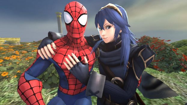 Spider-Man and Lucina at the Garden by kongzillarex619