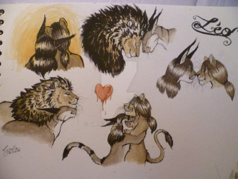 planche Lion et Caracal by Girole