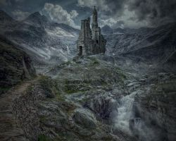 The Ruins On The Hill.. by AledJonesDigitalArt