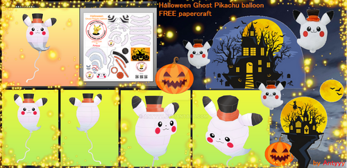 Halloween Ghost Pikachu Balloon papercraft (FREE) by Antyyy
