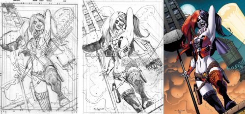 Harley Quinn commission WIP by qualano