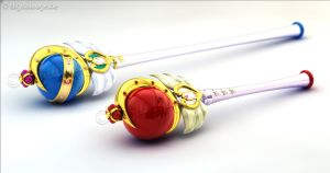 Sailor Moon - Cutie Moon Rods 3D by digitalAuge