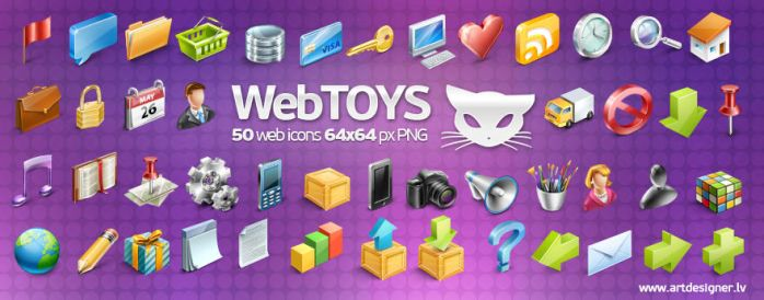 Webtoys 50 icons by lazymau
