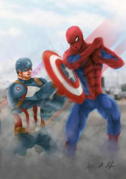 Spiderman V Captain America Civil War by Frostbite194
