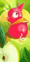bookmark pig and apples by Pendalune