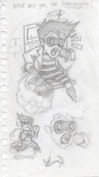 Cas Hamburglar sketches by blackbirdrose