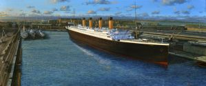 Titanic Docked by lusitania25