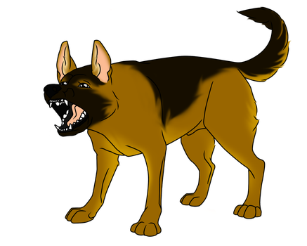 Commission - Snarling Shepherd by MauserGirl
