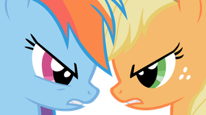 Applejack vs Rainbow Dash by IamthegreatLyra