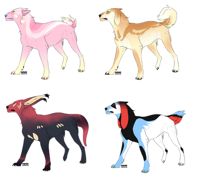 Four bright doggos 3/4 OPEN by Temerariie
