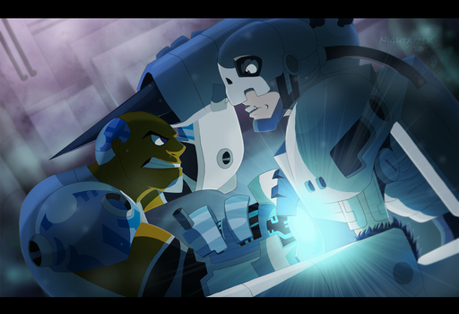 Cyborg vs Andromon by Nightrizer