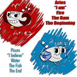 Cuphead Zodiac: Ramhead and Fishman by XxKawaiiCupcakezxX