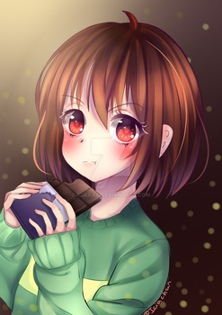 Undertale Fanart: Chara Chocolate(ALSO PRINTS) by IciaChan